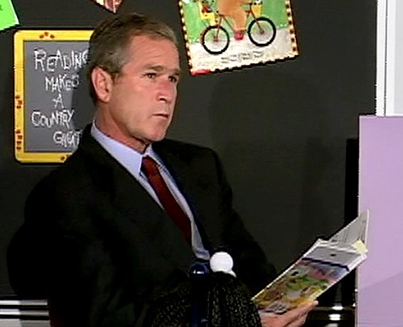 Bush-reading-My-Pet-Goat