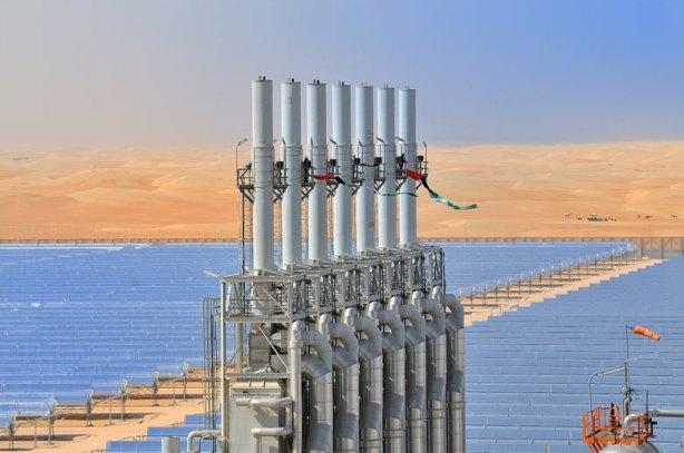 Solar plant Shams 1 in the desert of Abu Dhabi, the United Arab Emirates