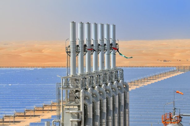 Solar plant Shams 1 in the desert of Abu Dhabi, the United Arab Emirates