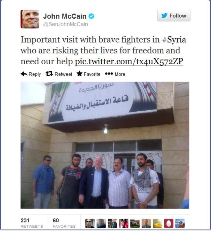 John McCain Tweets for Support of Syrian Insurgents