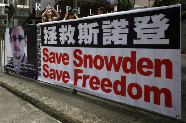 A poster supporting Snowden is displayed in Hong Kong