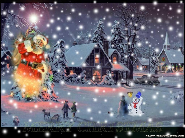 snow-man-christmas-scene