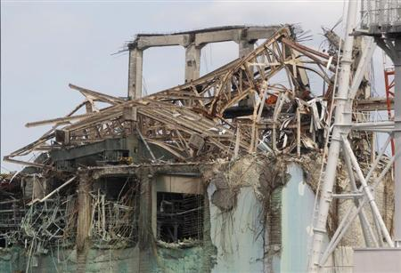 View of destroyed roof of No.3 reactor building of TEPCO's tsunami-crippled Fukushima Daiichi nuclear power plant is seen in Fukushima prefecture