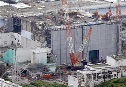 An aerial view shows No.3 reactor building at tsunami-crippled Fukushima Daiichi nuclear power plant in Fukushima
