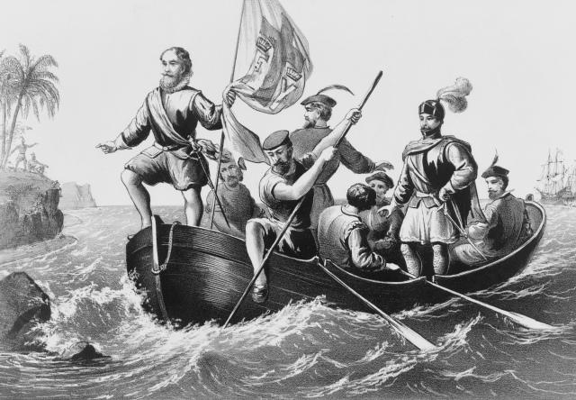 Image of The landing of Columbus at San Salvador, October 12, 14