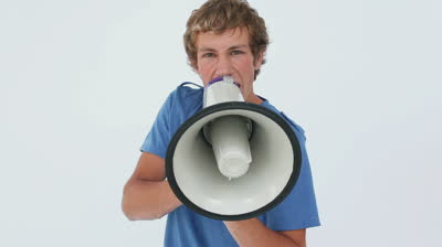 stock-footage-serious-man-shouting-into-a-megaphone-against-a-white-background