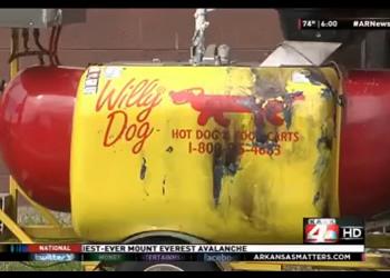 Mans-hot-dog-cart-on-fire