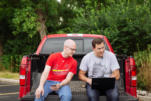Charlie Miller, left, a security researcher at Twitter,  and Chris Valasek, right, director of Vehicle Security Research at IOActive, have exposed the security vulnerabilities in automobiles by hacking into cars remotely, controlling the cars' various controls from the radio volume to the brakes. Photographed on Wednesday, July 1, 2015 in Ladue, Mo. (Photo © Whitney Curtis for WIRED.com)