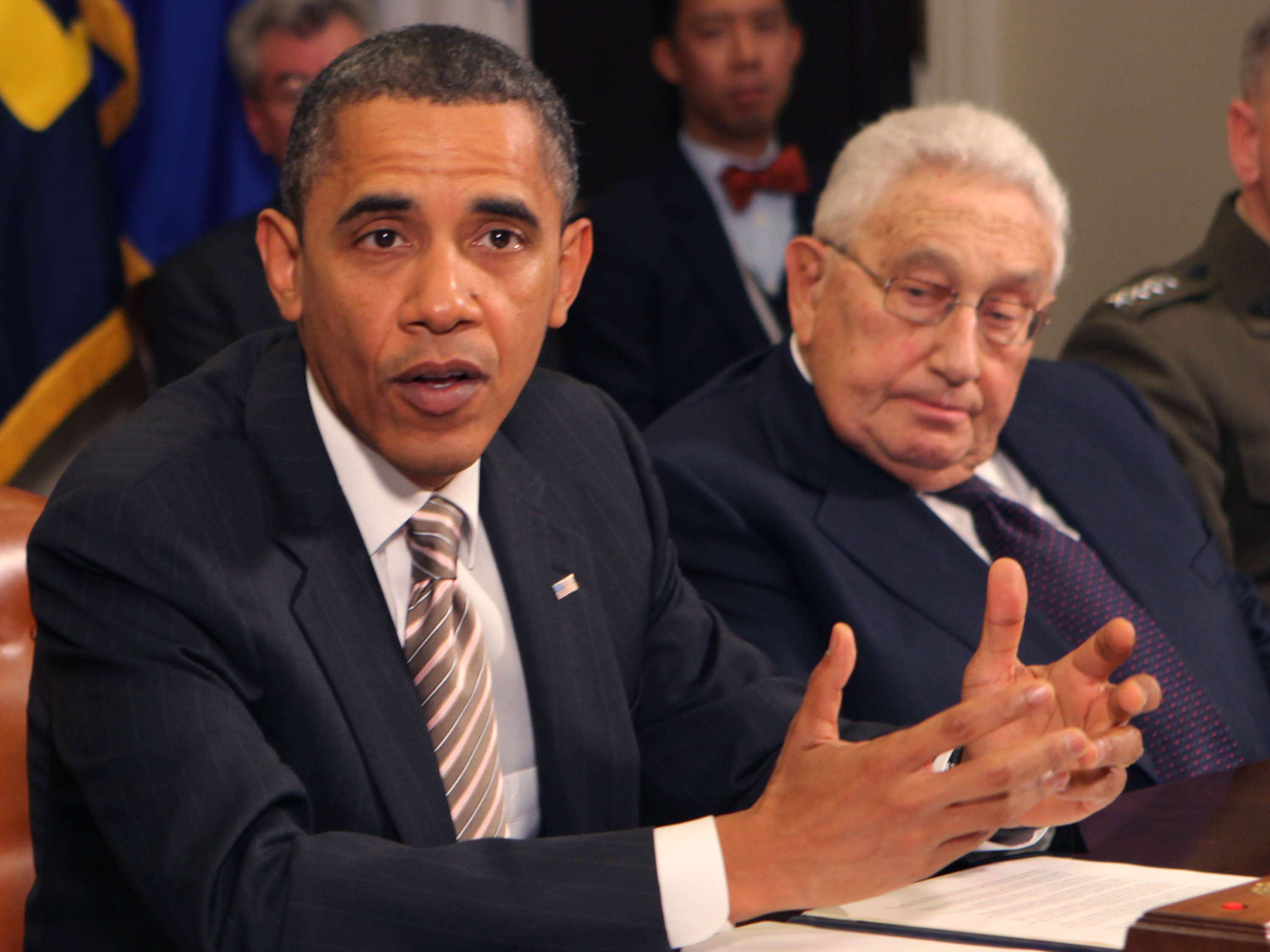 November 18, 2010 - Washington, D.C. - President Barack Obama makes a statement during a meeting with present administration officials and former Secretaries of State and Defense in the Roosevelt Room of the White House on November 18, 2010. (left to right. President Obama, Henry Kissinger, former Secretary of State. Photo Credit: Dennis Brack/Pool/Sipa Press/secpotusipa.004/1011190005 (Newscom TagID: sipaphotostwo960907.jpg) [Photo via Newscom]
