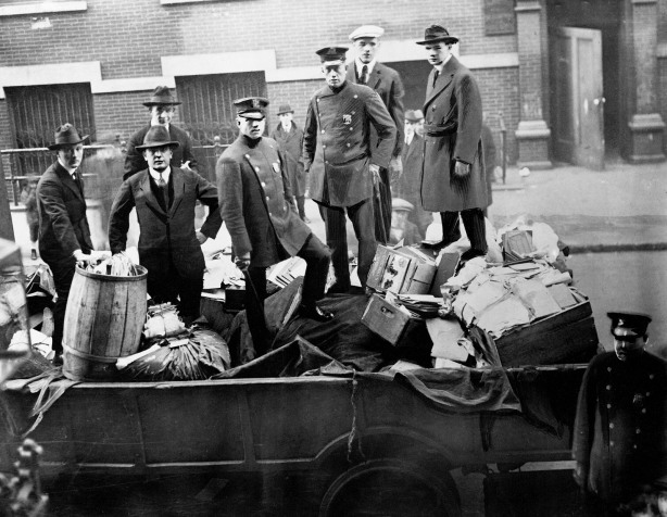 Boston police with seized radical literature, November 1919