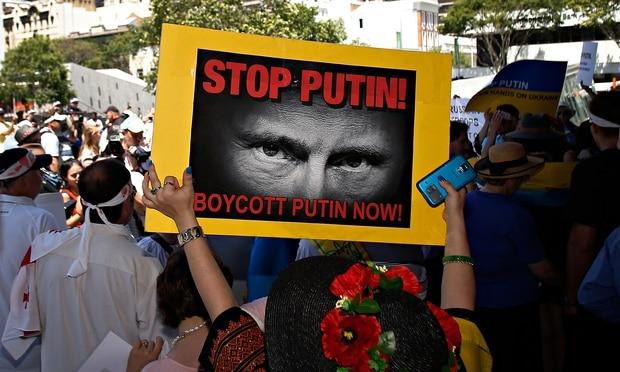 Anti-Putin protests in Brisbane, Australia