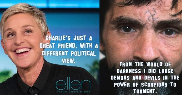 Ellen Charlie Manson Meme Parody Satire Political Film Blog