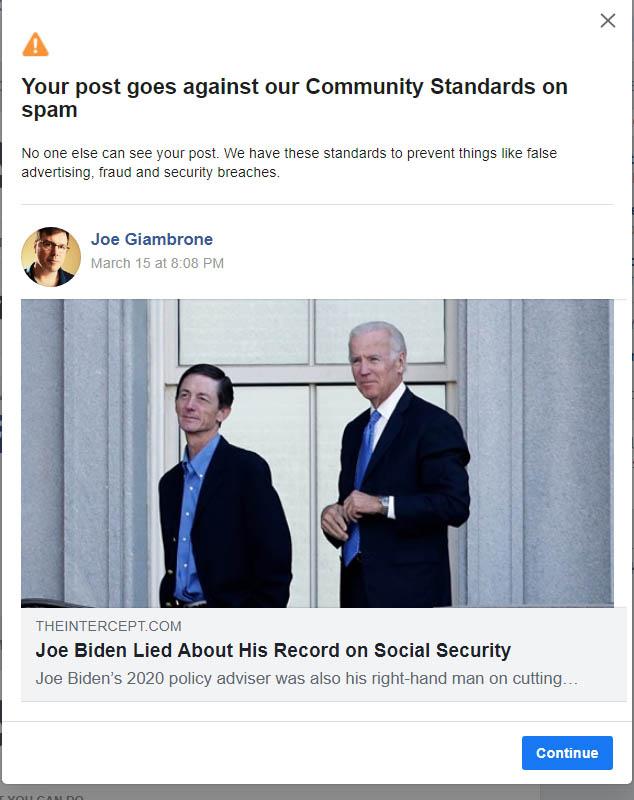 facebook censorship - biden lies