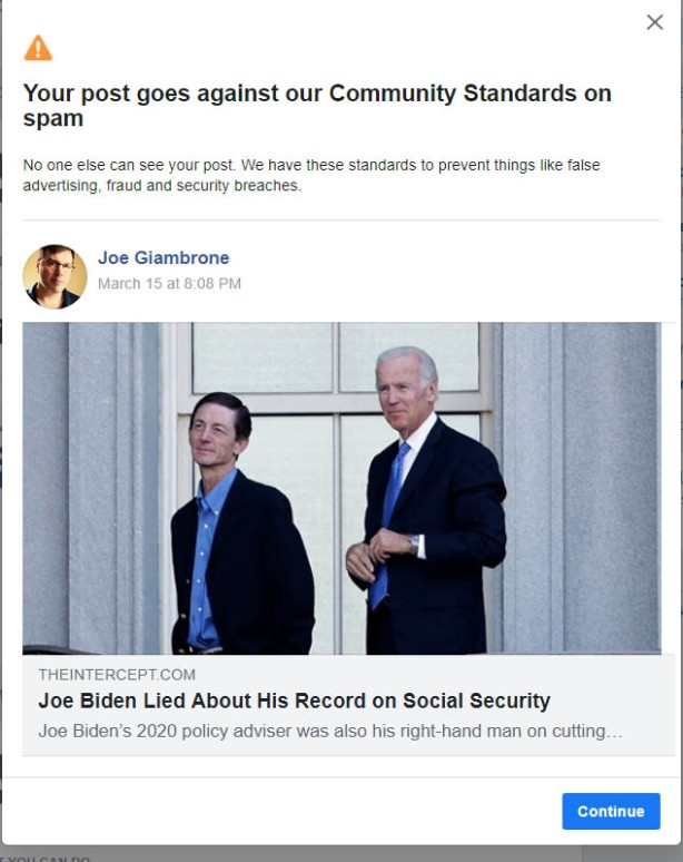 facebook censorship - biden lies